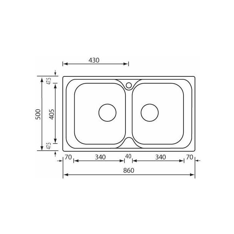 PIZZICA 86x50 2V usadno korito CM