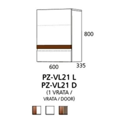 PZ-VL21 (L,D) viseći element - 1 vrata Prizma Alples