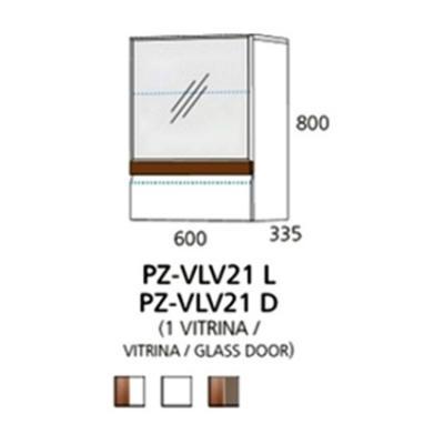 PZ-VLV21 (L,D) viseći element - 1 vitrina Prizma Alples