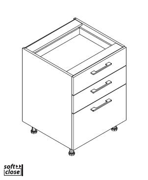VIG40/60/80/90 L3SI element, 2 plitke + 1 duboka ladica VIGGO